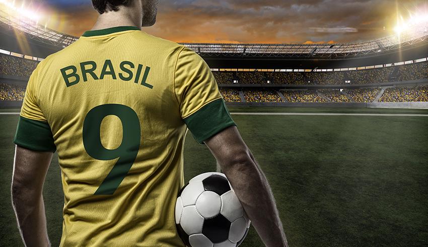 brazilian football player looking to the stadium