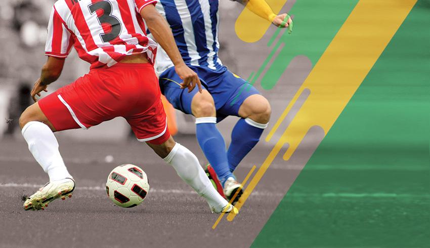 German 2. Bundesliga players disputing ball