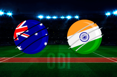 Australian flag vs Indian flag over a cricket pitch