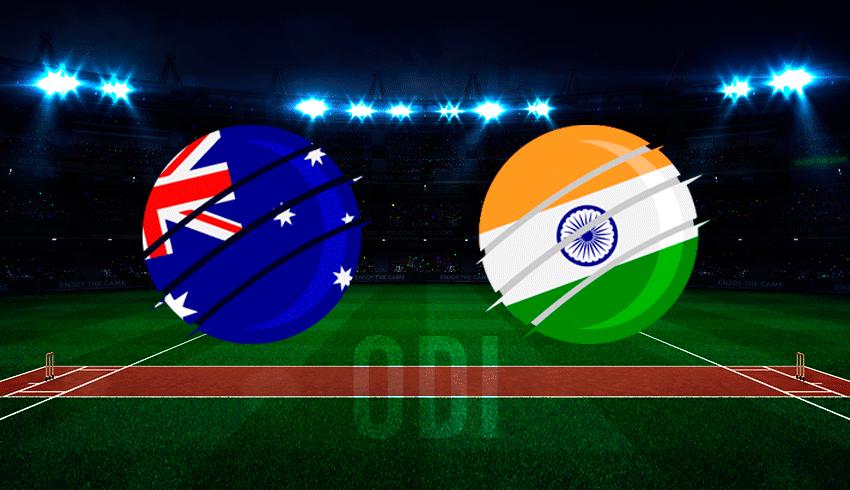 Australian flag vs Indian flag over a cricket pitch