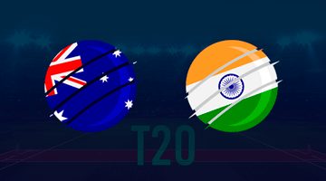 Australina flag and Indian flag over a T20 cricket pitch