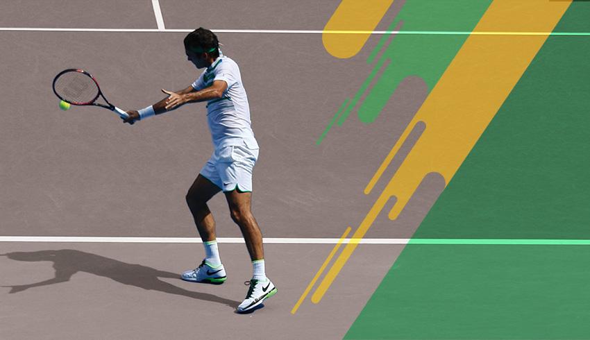 Roger Federer using his famous backhand during an Australian Open game