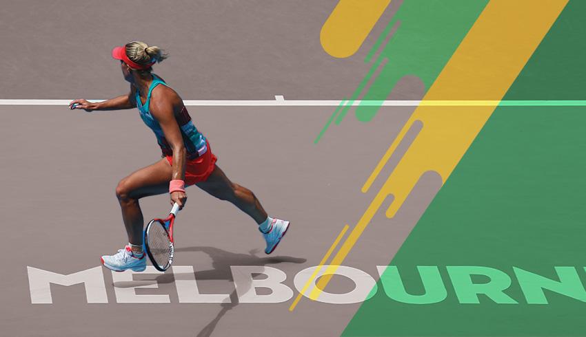 Angelique Kerber running to hit the ball during Australian Open match
