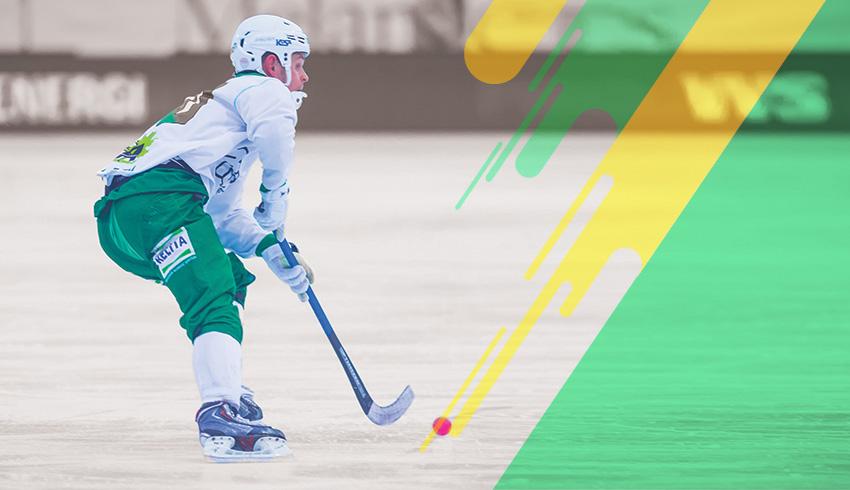Swedish Bandy Elitserien athlete controlling ball
