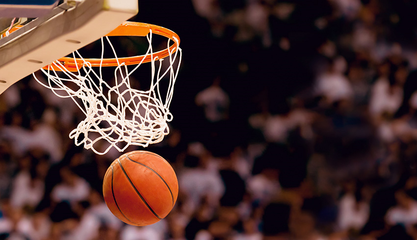 basketball coming out of the net