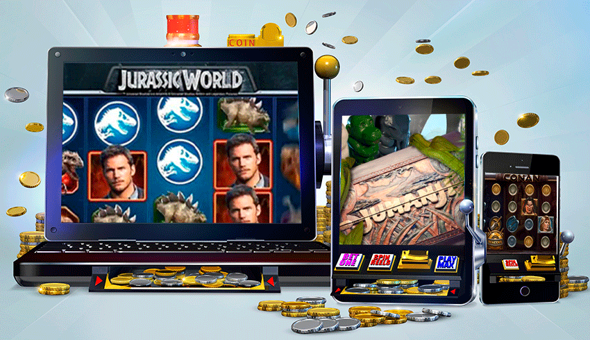 branded slot game featuing in laptop, tablet and smartphone