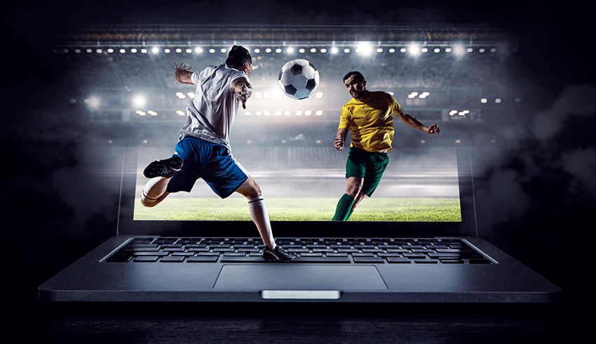 football action coming out of the laptop screen