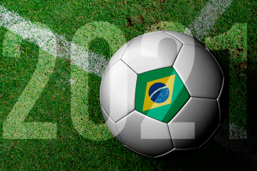 Football with Brazilian flag