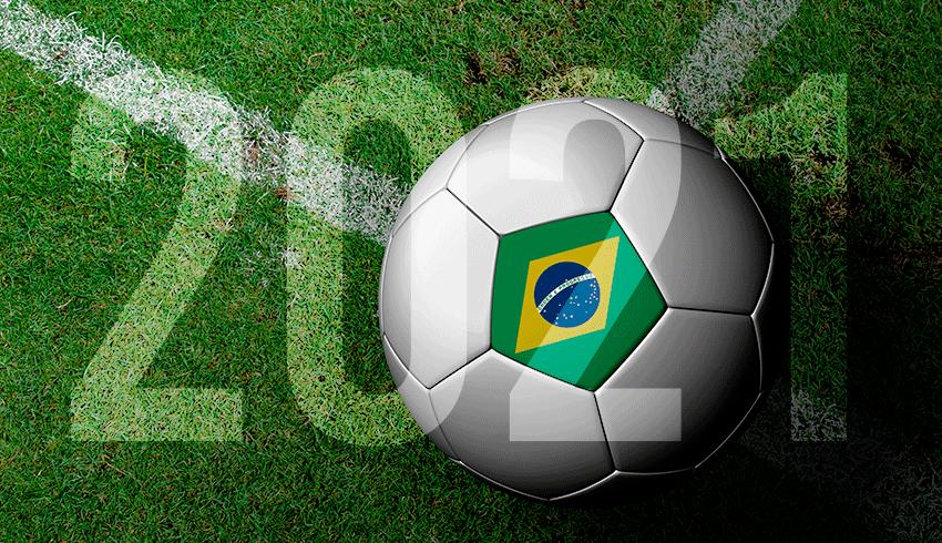 Football with Brazilian flag