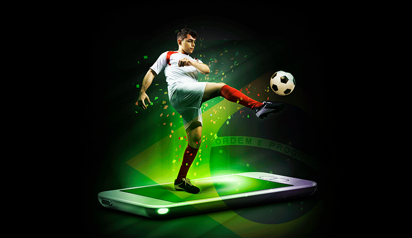 football player coming out of a smartphone screen with the ball