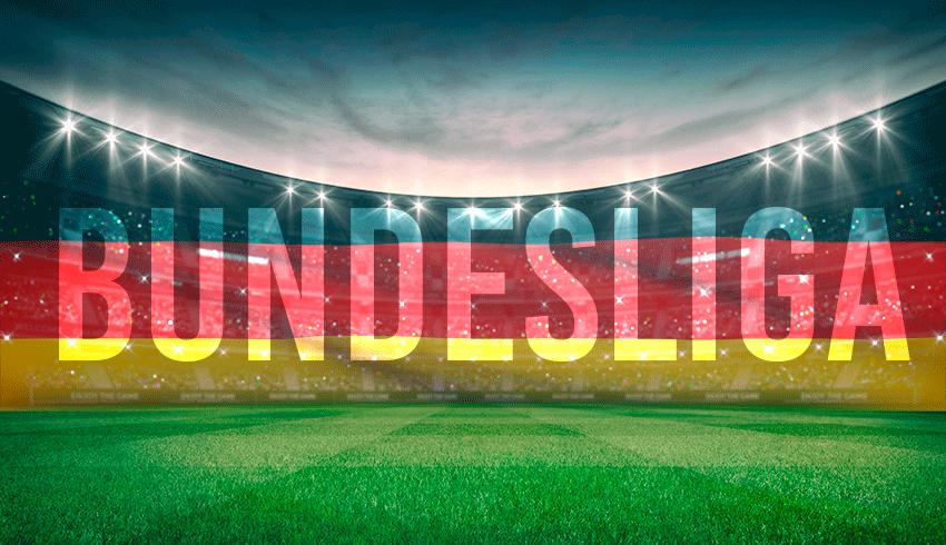German 1. Bundesliga football stadium with German flag