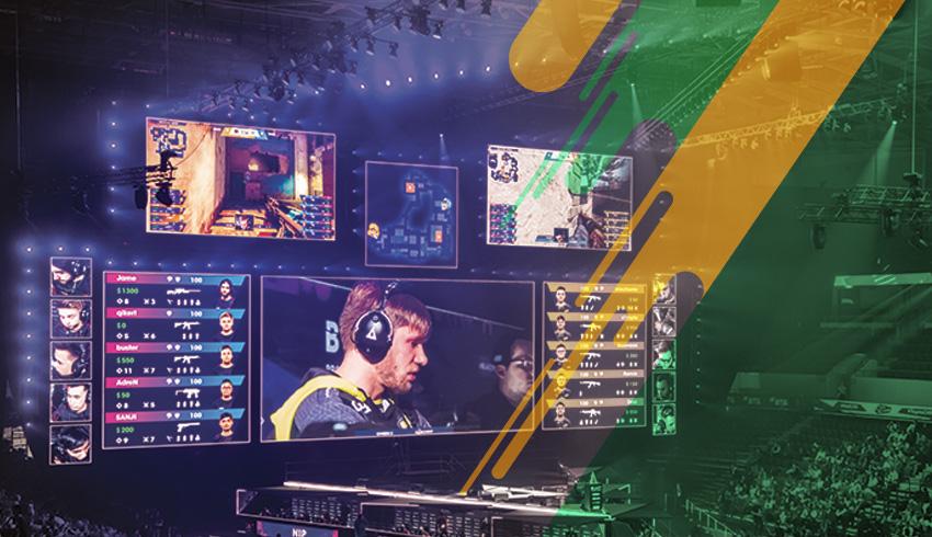 Counter-Strike: GO ESEA tournament gamer being filmed during esports tournament