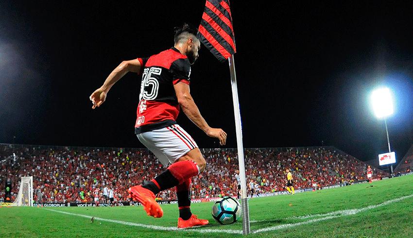 Flamengo player taking corner kick in the Maracanã stadium