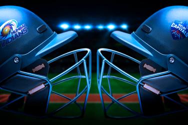 Mumbai Indians cricket helmet facing Dehli Capitals helment