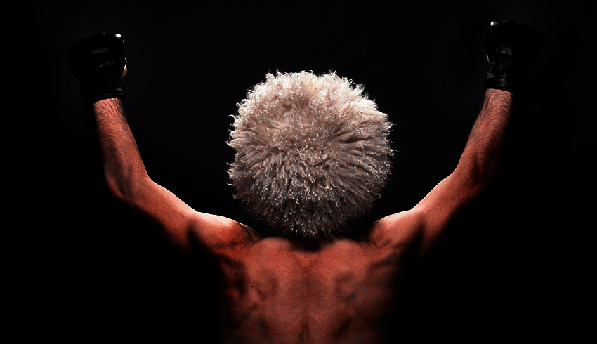 Back view of Khabib Nurmagomedov wearing Papakha hat