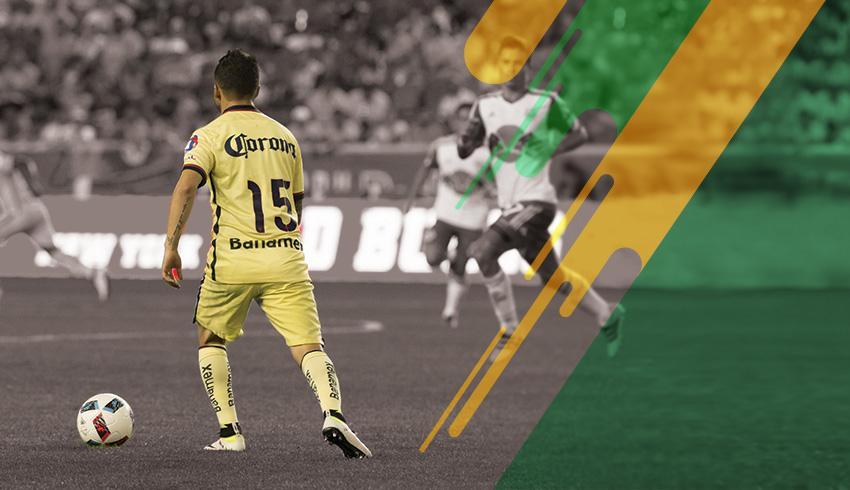 Club America player controling ball in a Liga MX match