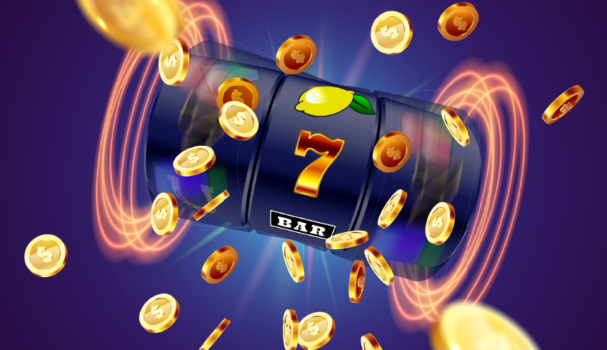 golden coins being spilled by spinning slot reels