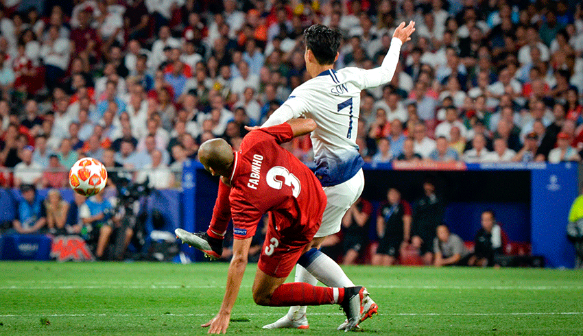 Fabinho and Son disputing ball in an English Premier League match