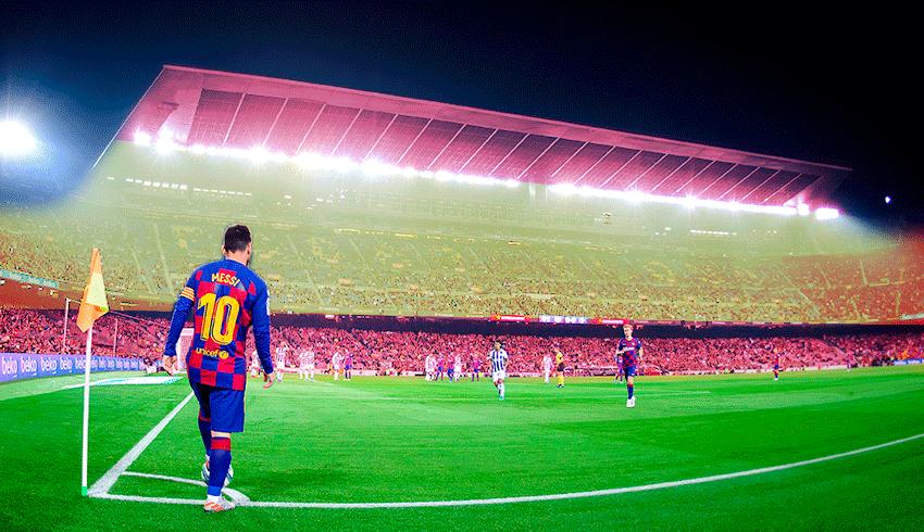 Lionel Messi taking a corner kick