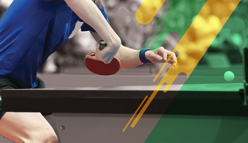player ready to serve the ball during Challenger Series match of table tennis