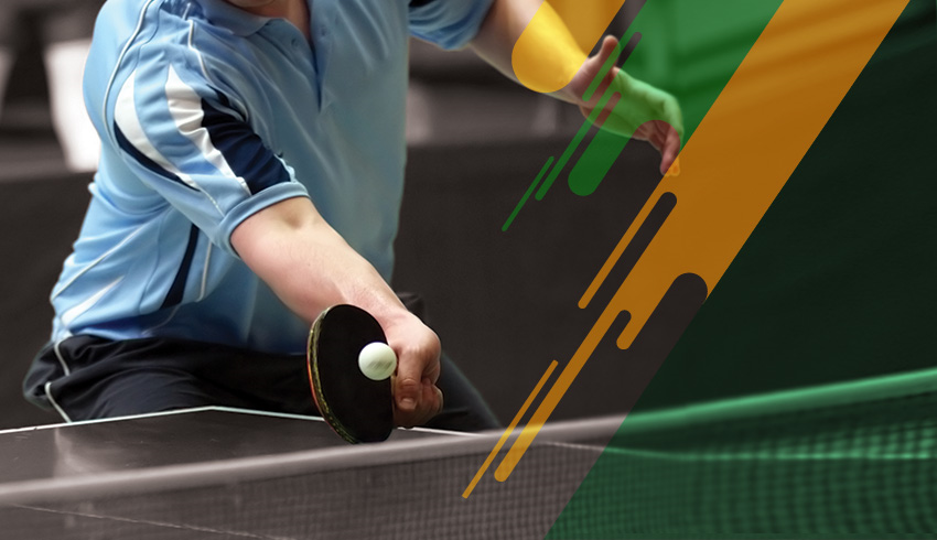 Table tennis player hitting the ball with racket during Setka Cup Men's Singles
