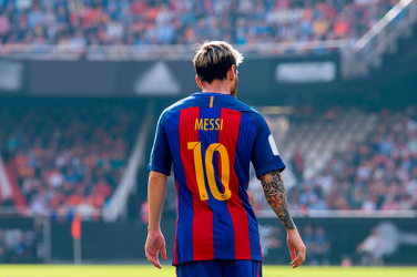 Lionel Messi back wearing Barcelona's number 10 shirt