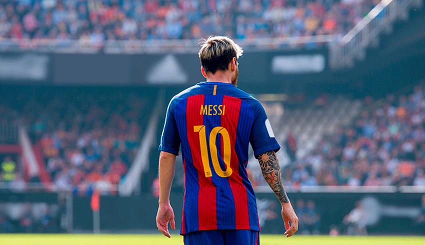 Lionel Messi back wearing Barcelona's number 10 shirt