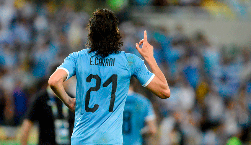 Edinson Cavani celebrating goal for the Uruguay international team