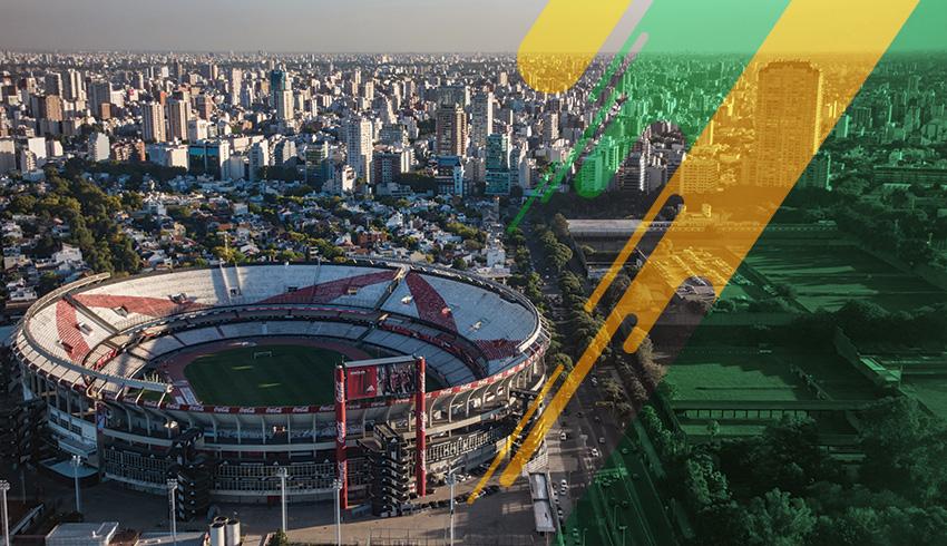 aerial vuew of an Argentinian football stadium