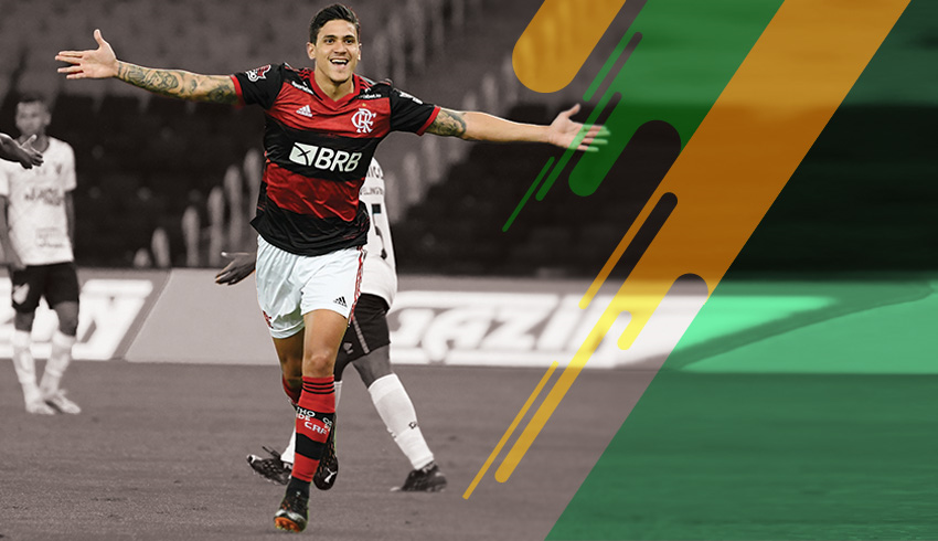 Flamengo football player cheering a goal during Brazil Cup