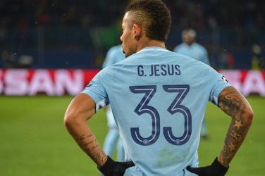 Gabriel Jesus wearing Manchester City's 33 shirt