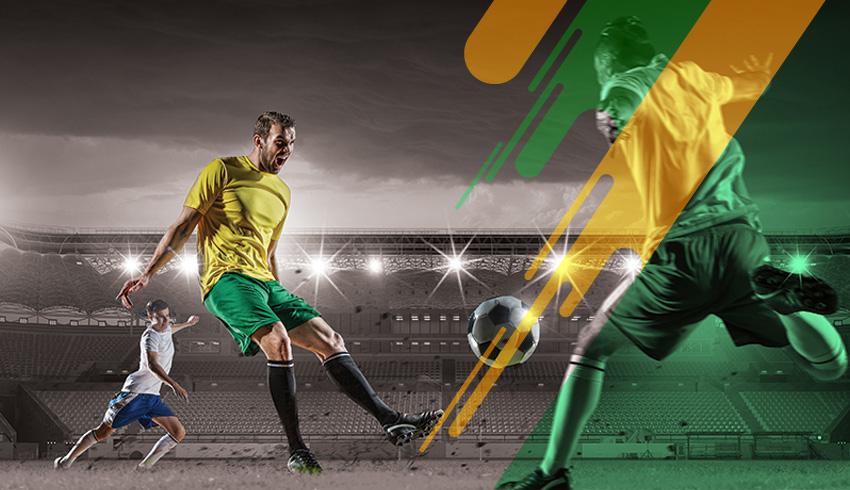 Paranaense U19 football player kicking the ball during football match