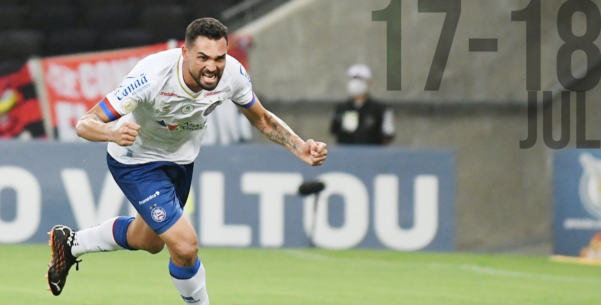 Gilberto cheering goal for Bahia during Brazilian Serie A match